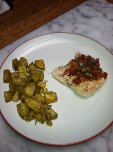 Rosemary Chicken (garnished with pico de gallo) and Rosemary Potatoes