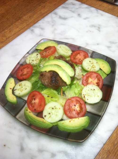 Hamburger-Avocado Salad with tomatoes, cucumbers, lettuce, salt/pepper, and olive oil vinaigrette