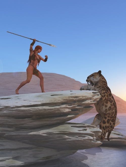 caveman, saber-toothed tiger, cavewoman, hunter, hunting, prehistoric, paleo diet